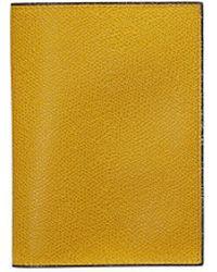 Valextra Leather Passport Holder - Yellow