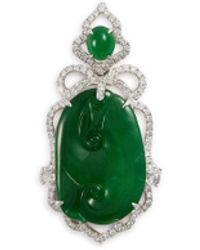 LC COLLECTION Diamond Jade 18k White Gold Pendant - Green