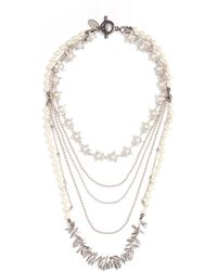 Venna - Faux Pearl Multi Chain Tiered Necklace - Lyst