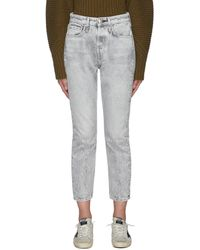 Rag & Bone 'maya' Mineral Wash Slim Cropped Jeans - Grey
