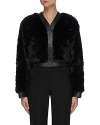 T By Alexander Wang Leather Trim Faux Fur Button Up Jacket - Black