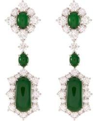 LC COLLECTION Diamond Jade 18k White Gold Geometric Drop Earrings - Green