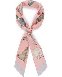 Cjw - 'winter Animal Twilly' Graphic Print Silk Skinny Scarf - Lyst