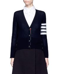 Thom Browne Stripe Sleeve Cashmere V-neck Cardigan - Black