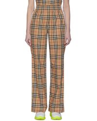 Burberry Side Stripe Vintage Check Trousers - Brown