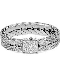 John Hardy - 'modern Chain' Diamond Extra Large Silver Bracelet - Lyst