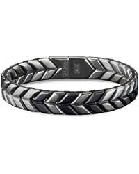 David Yurman 'chevron' Silver Titanium Woven Effect Bracelet - Metallic