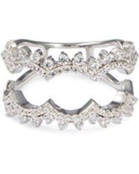 HEFANG - 'lace' Cubic Zirconia Silver Scalloped Cutout Ring - Lyst