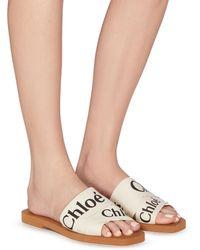 Chloé 'woody' Logo Print Strap Canvas Sandals - White
