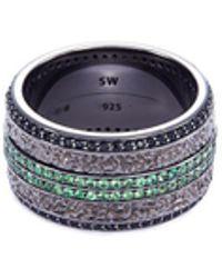 Stephen Webster - 'england Made Me' Tsavorite Sapphire Rhodium Silver Ring - Lyst