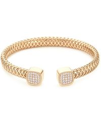 Roberto Coin - 'primavera' Diamond 18k White And Yellow Gold Cuff - Lyst