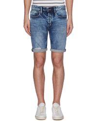 Denham 'razor' Ripped Skinny Denim Shorts - Blue