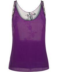 La Perla   Amethyst Sleeveless Silk Pyjama Top With Frastaglio Embroidery   Lyst