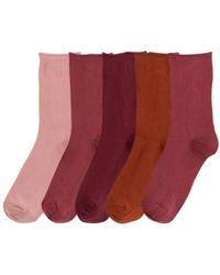 La Redoute Lot de 5 paires de mi-chaussettes - Rouge