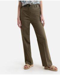 IKKS Pantalon large en lin - Vert