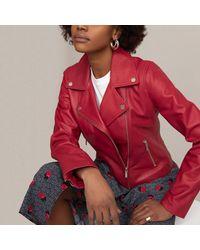 La Redoute Veste biker en cuir, coupe ajustée - Rouge