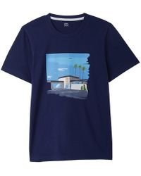 La Redoute - Crew Neck T-shirt With Californian Villa Print - Lyst