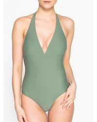 8eceb66c47 La Redoute - Halterneck Swimsuit With Tie At Back - Lyst