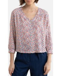Harris Wilson Blusa con cuello de pico, estampado floral LAURELINE - Multicolor