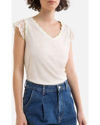 Naf Naf T-shirt manches courtes, col V - Blanc