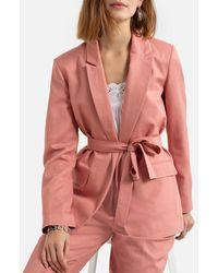 La Redoute Blazer con corte recto y cinturón - Rosa