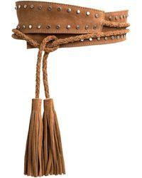 La Redoute Cinturón ancho con tachuelas y borlas de piel - Marrón