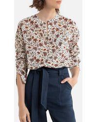 Ekyog Blusa de algodón orgánico, cuello redondo, estampado de flores DAINAM - Neutro