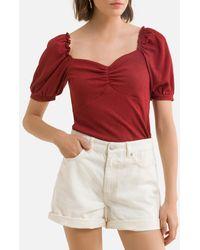 Naf Naf T-shirt décolleté carré, manches courtes - Rouge