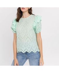 English Factory Blouse col rond, manches courtes - Vert