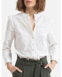 Ekyog Blusa de cuello alto, manga larga DAENI - Blanco