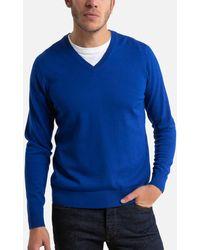 La Redoute Pull col V en laine mérinos, Pascal - Bleu