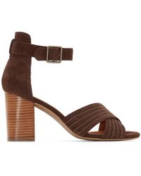 La Redoute - Leather Sandals With Crossover Straps - Lyst