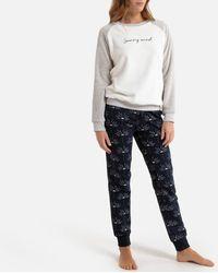 La Redoute - Pijama con parte superior de tejido polar y parte inferior de felpa estampada - Lyst