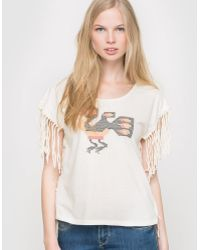 School Rag - Tristan Fringed, Embroidered T-shirt - Lyst