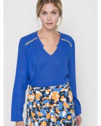 Color Block - Long-sleeved V-neck Blouse - Lyst