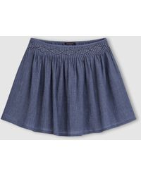 Color Block - Pleated Textured Voile Mini Skirt - Lyst