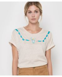 Color Block - Short-sleeved T-shirt With Braid Trim - Lyst