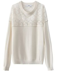 Suncoo - Pull Dentelle Col Rond Manches Longues - Lyst