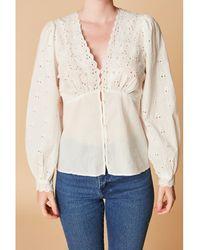 Petite Mendigote Blusa de algodón orgánico, cuello de pico, manga larga MARINE - Blanco