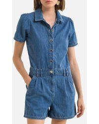 Naf Naf Combinaison short, chemise manches courtes - Bleu