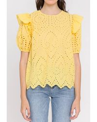 English Factory Blouse col rond, manches courtes - Jaune