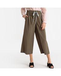 La Redoute Pantalon large, cordon à la ceinture - Marron