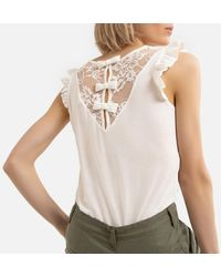 Naf Naf T-shirt col V, manchons volantés - Blanc