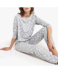 La Redoute Pijama estampado de manga larga - Gris