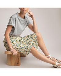 La Redoute Falda con estampado de flores, largo rodilla - Amarillo