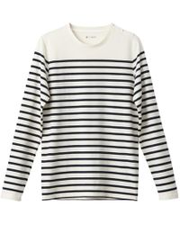 La Redoute - Long-sleeved Crew Neck Cotton T-shirt With Breton Stripes - Lyst