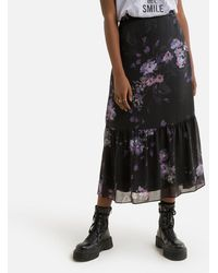 IKKS Falda larga con estampado floral - Negro