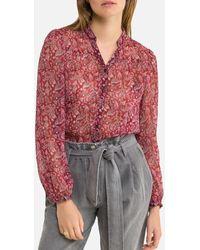 IKKS Blusa con estampado de flores, manga larga - Rojo