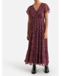 IKKS Vestido largo recto con estampado floral - Rojo