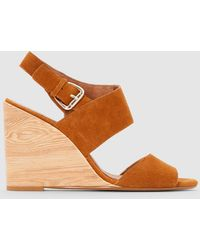 La Redoute - Leather Sandals With Wood Effect Wedge Heel - Lyst